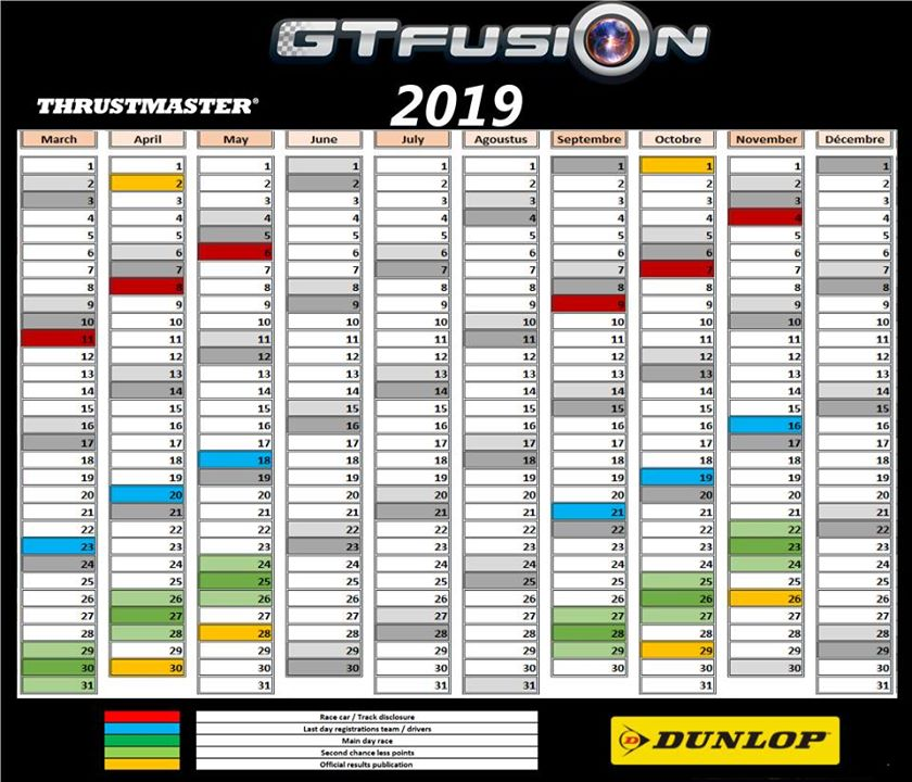 GTfusion GTSport Worldchampionship entry Calendar 2019Big